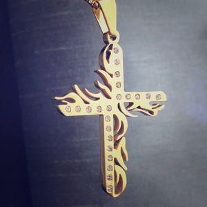 Other - Flamed Cross Studded Crucifix Gold Pendant with Ch